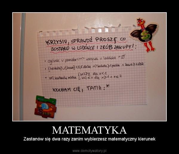 MATEMATYKA – Zastanów się dwa razy zanim wybierzesz matematyczny kierunek