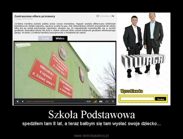 Szkoła Podstawowa – spedziłem tam 8 lat, a teraz bałbym się tam wysłać swoje dziecko...