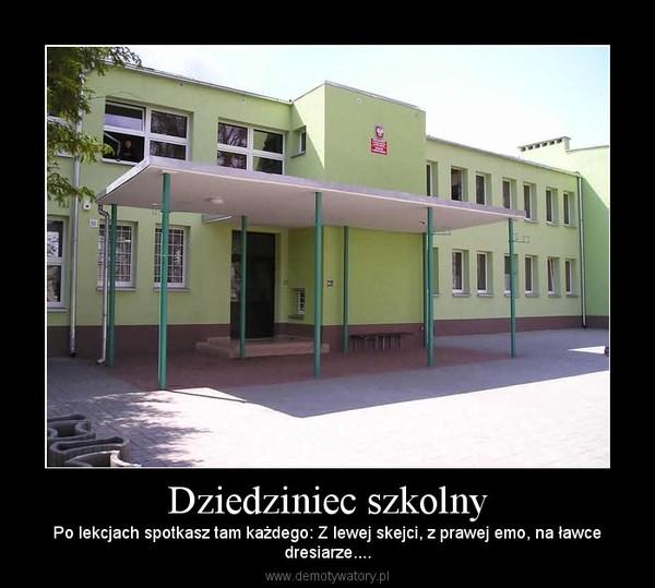 Dziedziniec szkolny – Po lekcjach spotkasz tam każdego: Z lewej skejci, z prawej emo, na ławcedresiarze....