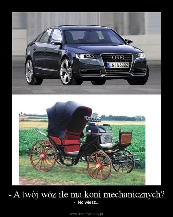 - A twój wóz ile ma koni mechanicznych? – -  No wiesz...
