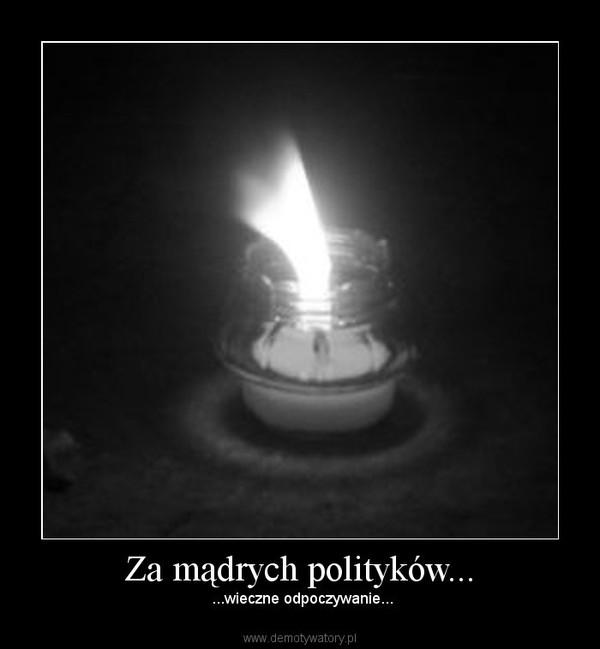 Za mądrych polityków... –  ...wieczne odpoczywanie...