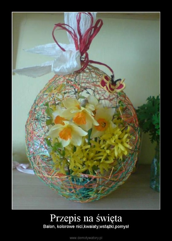 Przepis na święta – Balon, kolorowe nici,kwaiaty,wstążki,pomysł