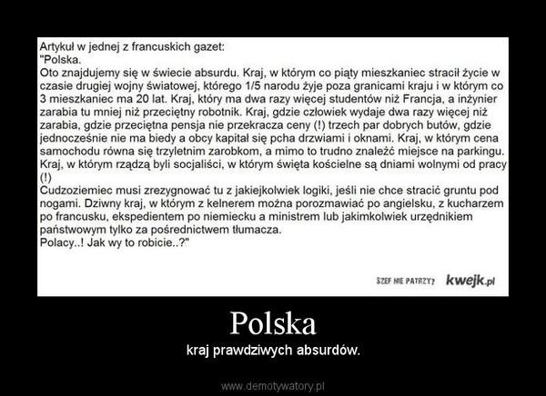 Polska – kraj prawdziwych absurdów.