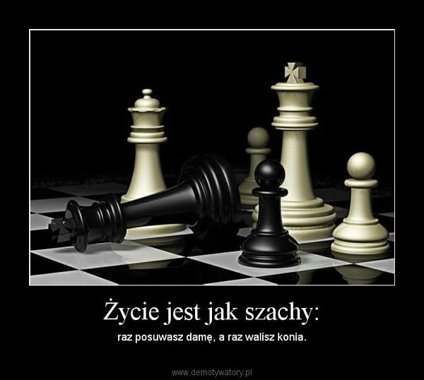 Życie jest jak szachy: – raz posuwasz damę, a raz walisz konia.