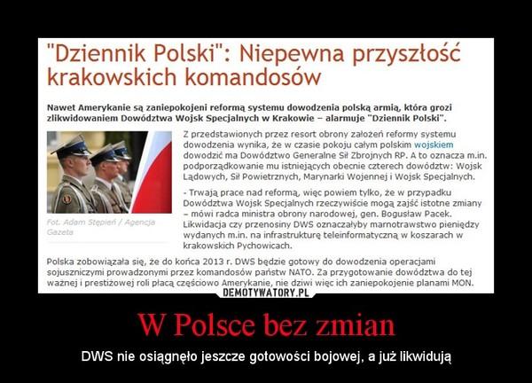 W Polsce bez zmian – DWS nie osiągnęło jeszcze gotowości bojowej, a już likwidują