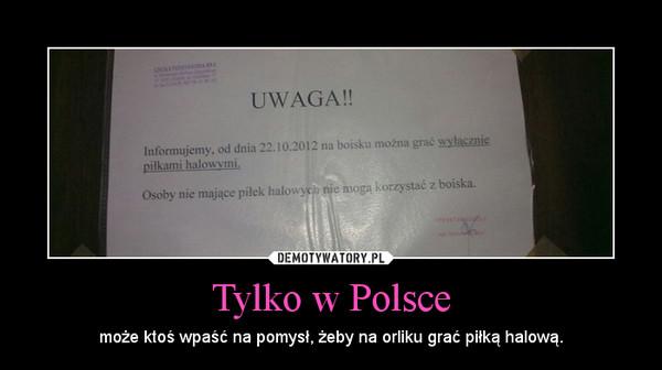 Tylko w Polsce – może ktoś wpaść na pomysł, żeby na orliku grać piłką halową.