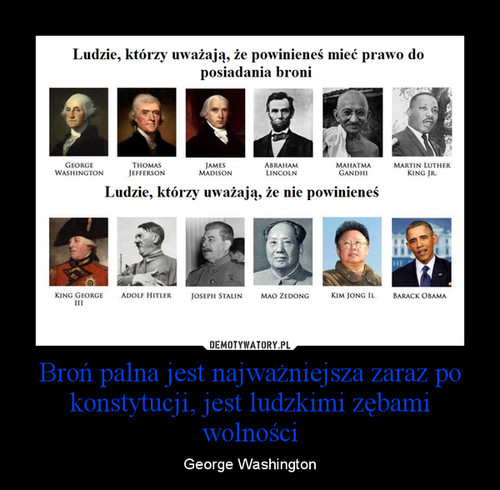 Broń palna jest najważniejsza zaraz po konstytucji, jest ludzkimi zębami wolności