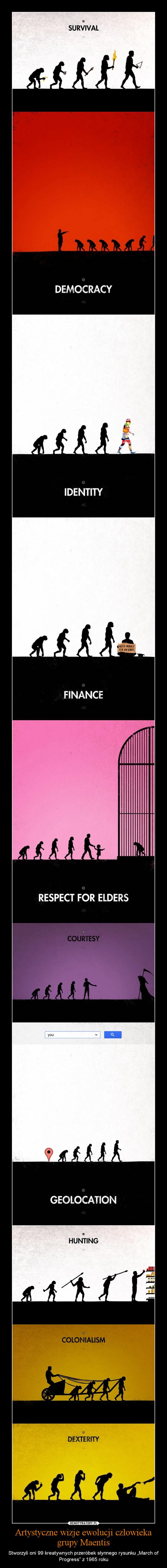 """Artystyczne wizje ewolucji człowieka grupy Maentis – Stworzyli oni 99 kreatywnych przeróbek słynnego rysunku """"March of Progress"""" z 1965 roku"""