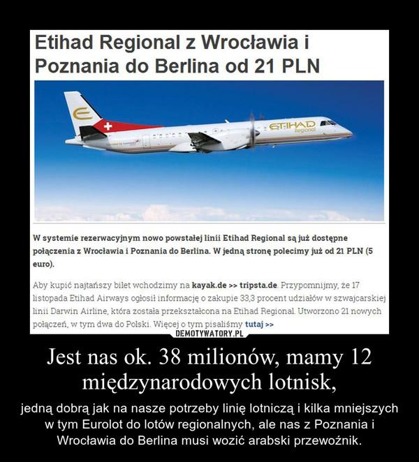 Jest nas ok. 38 milionów, mamy 12 międzynarodowych lotnisk, – jedną dobrą jak na nasze potrzeby linię lotniczą i kilka mniejszych w tym Eurolot do lotów regionalnych, ale nas z Poznania i Wrocławia do Berlina musi wozić arabski przewoźnik.