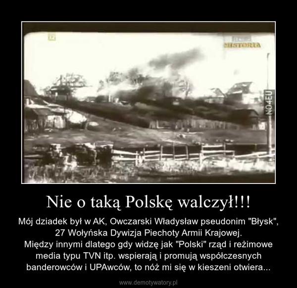"""Nie o taką Polskę walczył!!! – Mój dziadek był w AK, Owczarski Władysław pseudonim """"Błysk"""", 27 Wołyńska Dywizja Piechoty Armii Krajowej.\nMiędzy innymi dlatego gdy widzę jak """"Polski"""" rząd i reżimowe media typu TVN itp. wspierają i promują współczesnych banderowców i UPAwców, to nóż mi się w kieszeni otwiera..."""