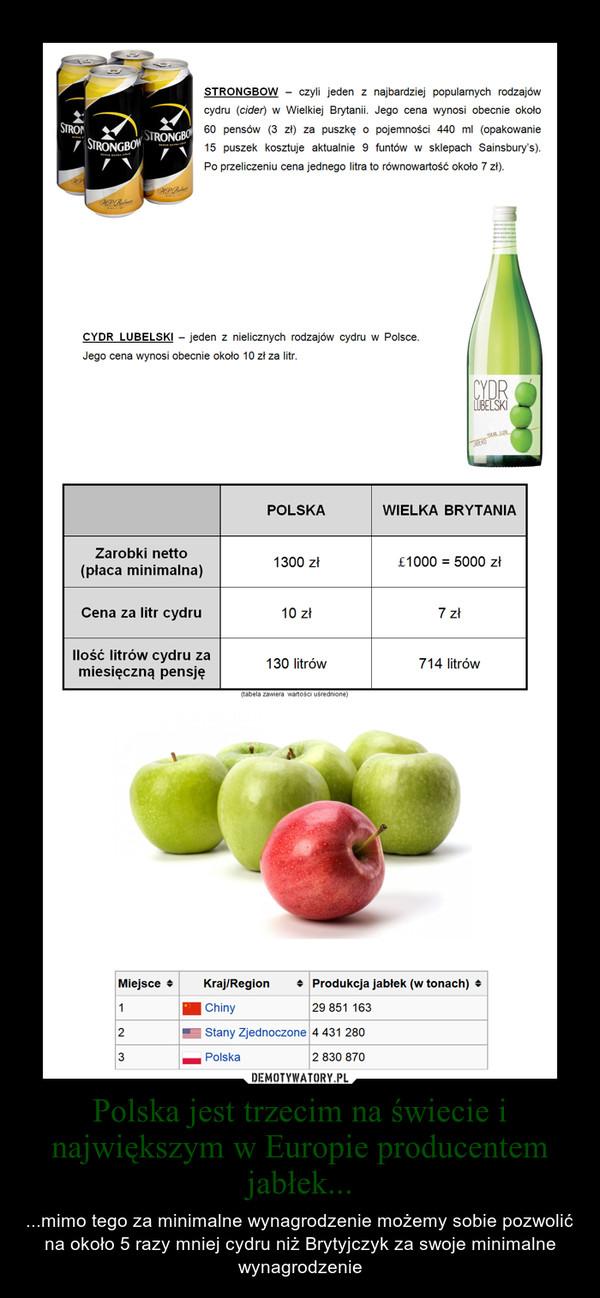 Polska jest trzecim na świecie i największym w Europie producentem jabłek... – ...mimo tego za minimalne wynagrodzenie możemy sobie pozwolić na około 5 razy mniej cydru niż Brytyjczyk za swoje minimalne wynagrodzenie