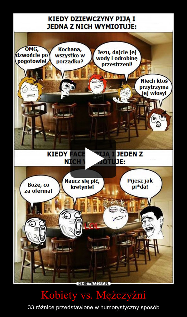 Kobiety vs. Mężczyźni – 33 różnice przedstawione w humorystyczny sposób