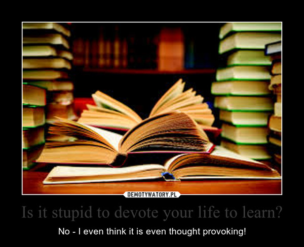 Is it stupid to devote your life to learn? – No - I even think it is even thought provoking!