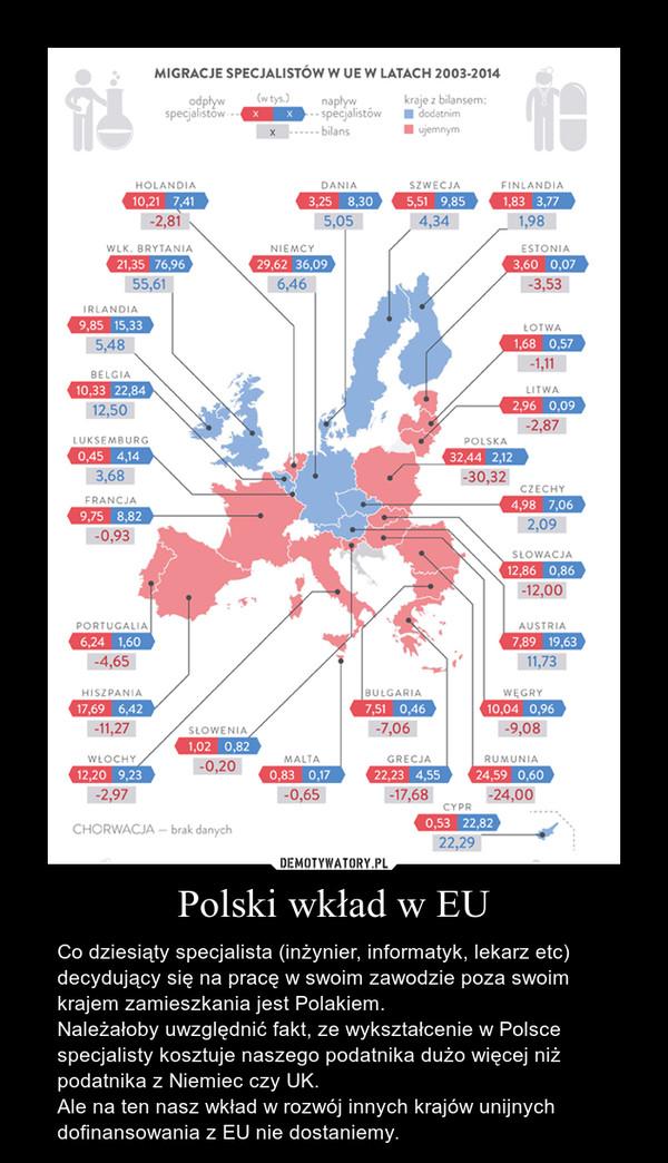 Polski wkład w EU – Co dziesiąty specjalista (inżynier, informatyk, lekarz etc) decydujący się na pracę w swoim zawodzie poza swoim krajem zamieszkania jest Polakiem.Należałoby uwzględnić fakt, ze wykształcenie w Polsce specjalisty kosztuje naszego podatnika dużo więcej niż podatnika z Niemiec czy UK.Ale na ten nasz wkład w rozwój innych krajów unijnych dofinansowania z EU nie dostaniemy.