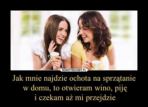 Jak mnie najdzie ochota na sprzątanie w domu, to otwieram wino, piję i czekam aż mi przejdzie –