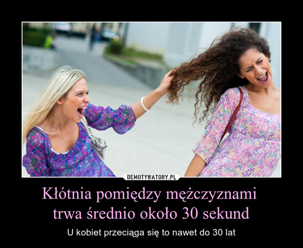 Kłótnia pomiędzy mężczyznami trwa średnio około 30 sekund – U kobiet przeciąga się to nawet do 30 lat