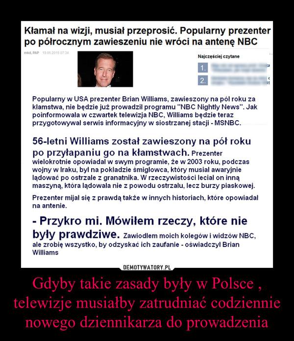 Gdyby takie zasady były w Polsce , telewizje musiałby zatrudniać codziennie nowego dziennikarza do prowadzenia –