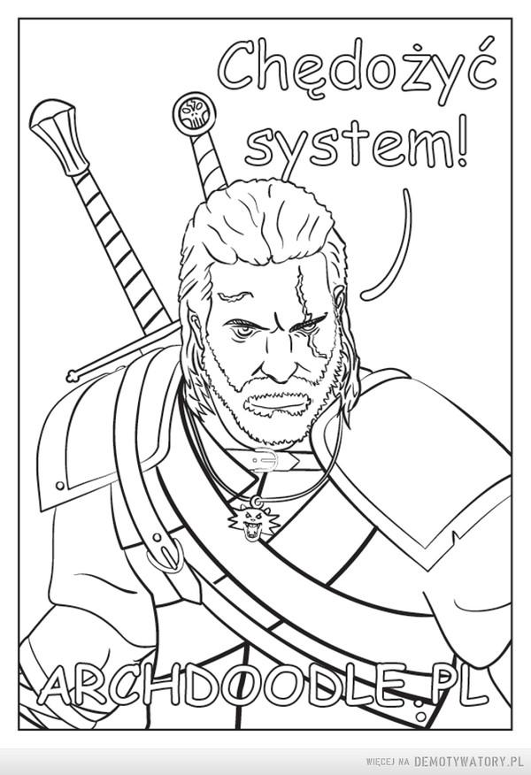 Geralt - Kolorowanka – 1 - Ściągasz na dysk2 - Drukujesz3 - Jedziesz