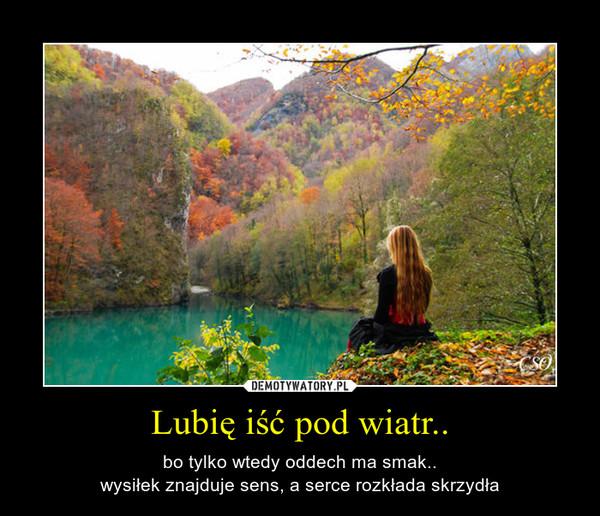 Lubię iść pod wiatr.. – bo tylko wtedy oddech ma smak..wysiłek znajduje sens, a serce rozkłada skrzydła