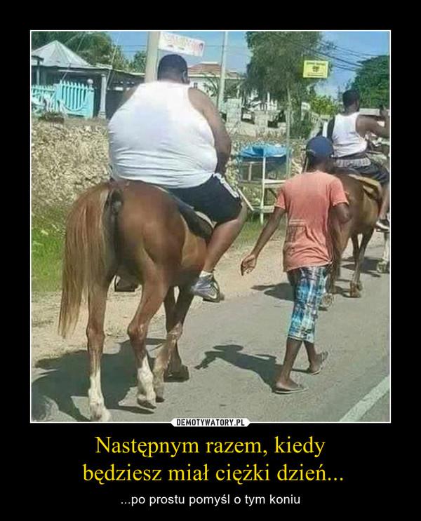Następnym razem, kiedy  będziesz miał ciężki dzień... – ...po prostu pomyśl o tym koniu