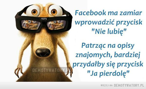 """Facebook –  Facebook ma zamiar wprowadzić przycisk """"Nie lubię"""" Patrząc na opisy znajomych, bardziej przydałby się przycisk """"Ja pierdolę"""""""