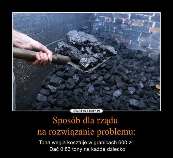 Sposób dla rządu na rozwiązanie problemu: – Tona węgla kosztuje w granicach 600 zł. Dać 0,83 tony na każde dziecko