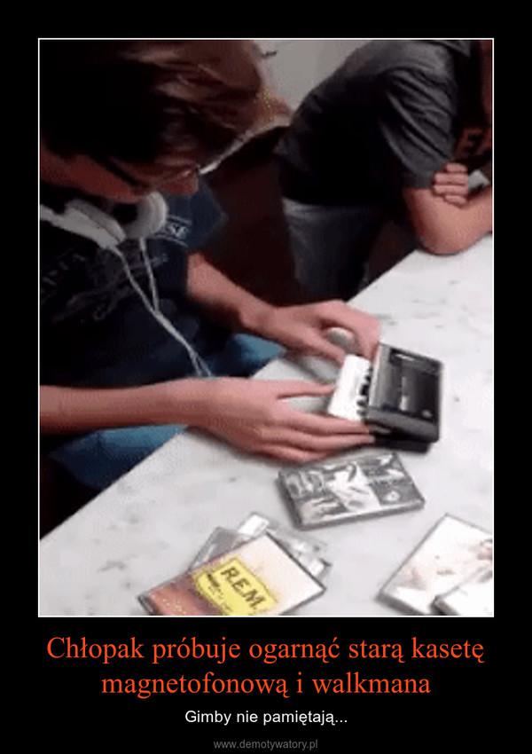 Chłopak próbuje ogarnąć starą kasetę magnetofonową i walkmana – Gimby nie pamiętają...