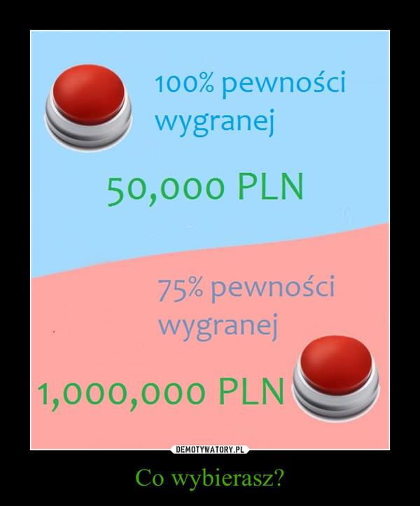 Co wybierasz? –  100% pewności wygranej50,000 PLN75% pewności wygranej1,000,000 PLN