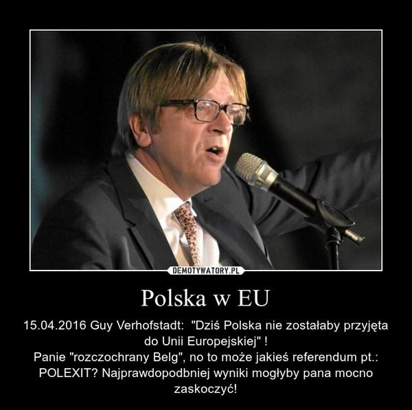 """Polska w EU – 15.04.2016 Guy Verhofstadt:  """"Dziś Polska nie zostałaby przyjęta do Unii Europejskiej"""" !Panie """"rozczochrany Belg"""", no to może jakieś referendum pt.: POLEXIT? Najprawdopodbniej wyniki mogłyby pana mocno zaskoczyć!"""