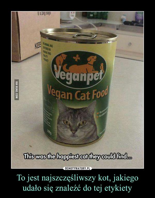 To jest najszczęśliwszy kot, jakiego udało się znaleźć do tej etykiety –