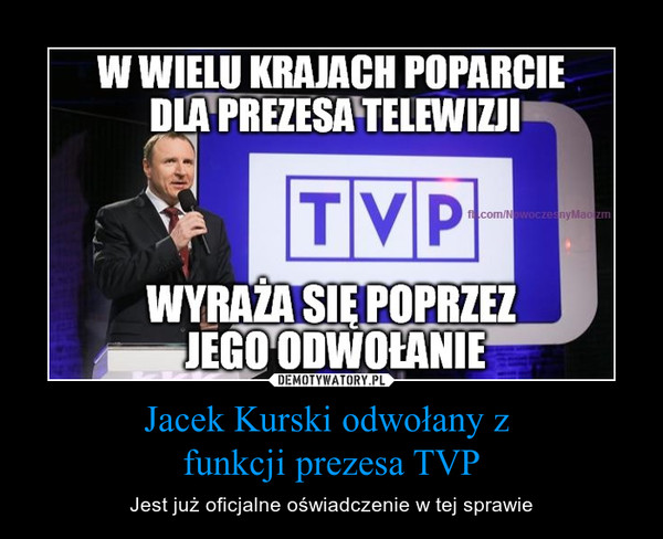 Jacek Kurski odwołany z funkcji prezesa TVP – Jest już oficjalne oświadczenie w tej sprawie