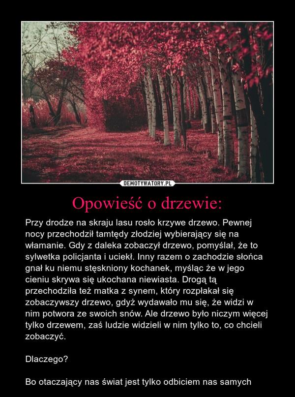 Opowieść o drzewie: – Przy drodze na skraju lasu rosło krzywe drzewo. Pewnej nocy przechodził tamtędy złodziej wybierający się na włamanie. Gdy z daleka zobaczył drzewo, pomyślał, że to sylwetka policjanta i uciekł. Inny razem o zachodzie słońca gnał ku niemu stęskniony kochanek, myśląc że w jego cieniu skrywa się ukochana niewiasta. Drogą tą przechodziła też matka z synem, który rozpłakał się zobaczywszy drzewo, gdyż wydawało mu się, że widzi w nim potwora ze swoich snów. Ale drzewo było niczym więcej tylko drzewem, zaś ludzie widzieli w nim tylko to, co chcieli zobaczyć. Dlaczego? Bo otaczający nas świat jest tylko odbiciem nas samych