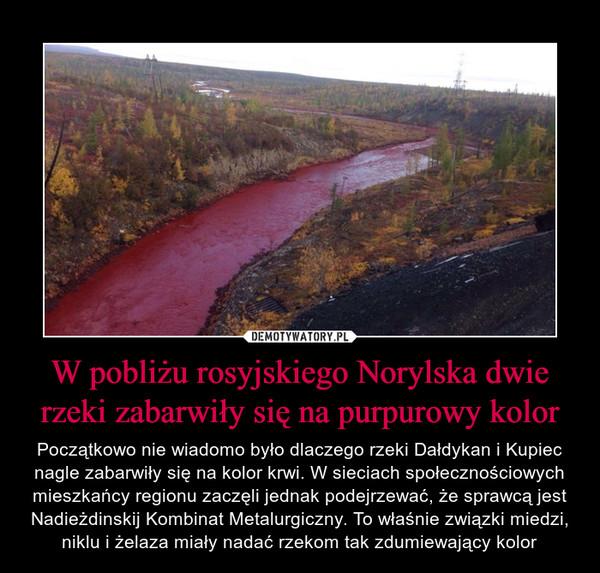 W pobliżu rosyjskiego Norylska dwie rzeki zabarwiły się na purpurowy kolor