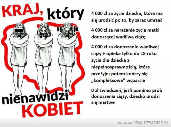 """Polska –  Kraj, który nienawidzi kobiet4 000 zł za życie dziecka, które masię urodzić po to, by zaraz umrzeć4 000 zł za narażenie życia matkidonoszącej wadliwą ciążę4 000 zł za donoszenie wadliwejciąży + opieka tylko do 18 rokużycia dla dziecka zniepełnosprawnością, któreprzeżyje; potem kończy się""""kompleksowe"""" wsparcie0 zł świadczeń, jeśli pomimo próbdonoszenia ciąży, dziecko urodzisię martwe"""