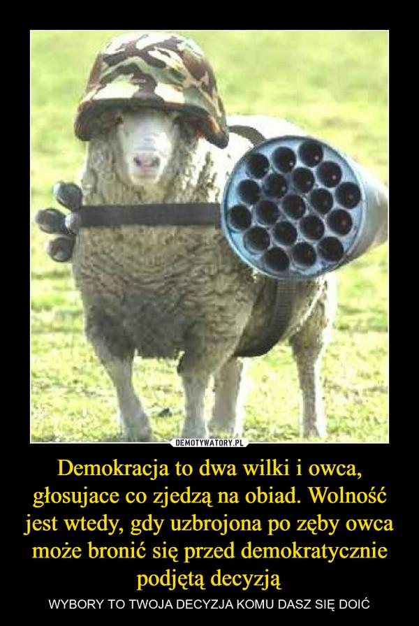 Demokracja to dwa wilki i owca, głosujace co zjedzą na obiad. Wolność jest wtedy, gdy uzbrojona po zęby owca może bronić się przed demokratycznie podjętą decyzją – WYBORY TO TWOJA DECYZJA KOMU DASZ SIĘ DOIĆ