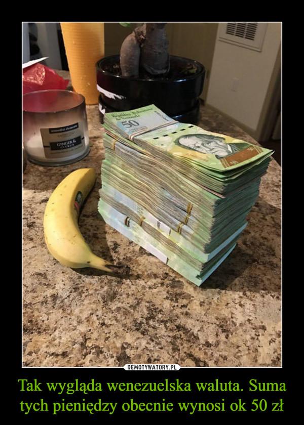 Tak wygląda wenezuelska waluta. Suma tych pieniędzy obecnie wynosi ok 50 zł –