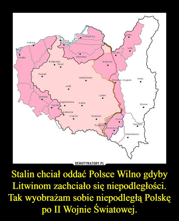 Stalin chciał oddać Polsce Wilno gdyby Litwinom zachciało się niepodległości.Tak wyobrażam sobie niepodległą Polskę po II Wojnie Światowej. –