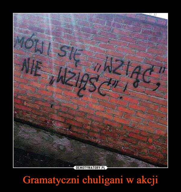 """Gramatyczni chuligani w akcji –  Mówi się """"wziąć"""" a nie """"wziąść"""""""