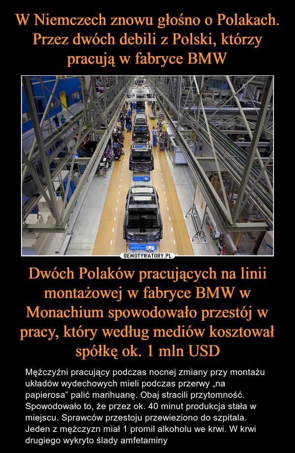 """Dwóch Polaków pracujących na linii montażowej w fabryce BMW w Monachium spowodowało przestój w pracy, który według mediów kosztował spółkę ok. 1 mln USD – Mężczyźni pracujący podczas nocnej zmiany przy montażu układów wydechowych mieli podczas przerwy """"na papierosa"""" palić marihuanę. Obaj stracili przytomność. Spowodowało to, że przez ok. 40 minut produkcja stała w miejscu. Sprawców przestoju przewieziono do szpitala. Jeden z mężczyzn miał 1 promil alkoholu we krwi. W krwi drugiego wykryto ślady amfetaminy"""