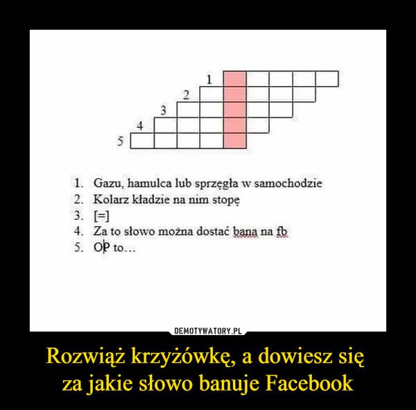 Rozwiąż krzyżówkę, a dowiesz się za jakie słowo banuje Facebook –  1. Gazu, hamulca lub sprzęgła w samochodzie 2. Kolan kładzie na nim stopę 3. [=] 4. Za to słowo można dostać bana na fp 5. OP to...