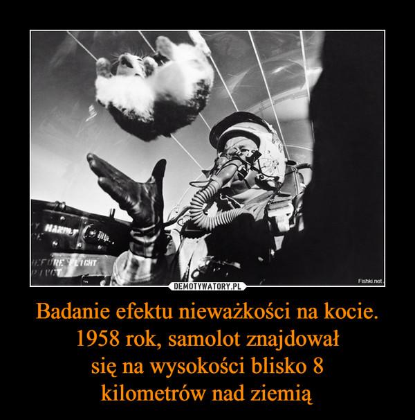 Badanie efektu nieważkości na kocie. 1958 rok, samolot znajdował się na wysokości blisko 8 kilometrów nad ziemią –