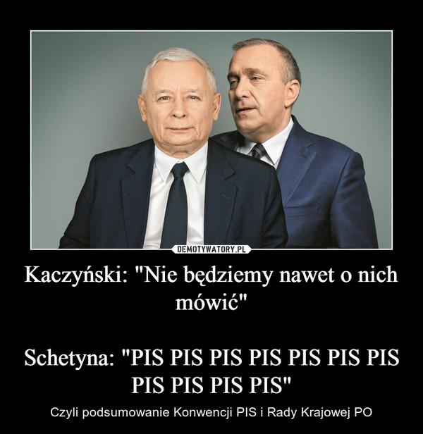 """Kaczyński: """"Nie będziemy nawet o nich mówić""""Schetyna: """"PIS PIS PIS PIS PIS PIS PIS PIS PIS PIS PIS"""" – Czyli podsumowanie Konwencji PIS i Rady Krajowej PO"""