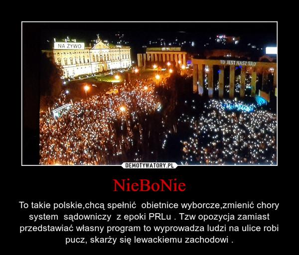NieBoNie – To takie polskie,chcą spełnić  obietnice wyborcze,zmienić chory system  sądowniczy  z epoki PRLu . Tzw opozycja zamiast przedstawiać własny program to wyprowadza ludzi na ulice robi pucz, skarży się lewackiemu zachodowi .