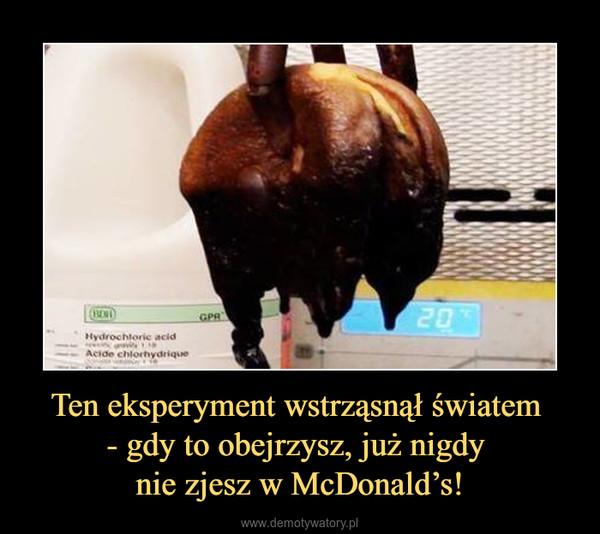 Ten eksperyment wstrząsnął światem - gdy to obejrzysz, już nigdy nie zjesz w McDonald's! –