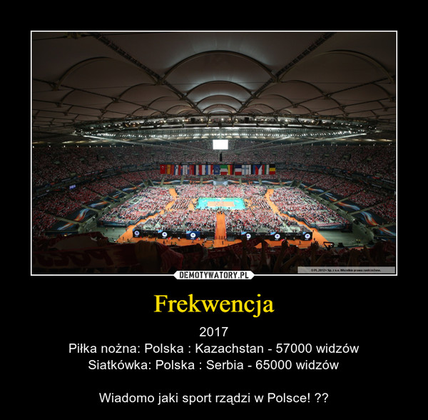 Frekwencja – 2017Piłka nożna: Polska : Kazachstan - 57000 widzówSiatkówka: Polska : Serbia - 65000 widzówWiadomo jaki sport rządzi w Polsce!