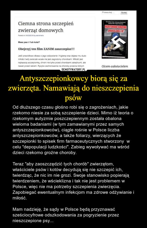 """Antyszczepionkowcy biorą się za zwierzęta. Namawiają do nieszczepienia psów – Od dłuższego czasu głośno robi się o zagrożeniach, jakie rzekomo niesie za sobą szczepienie dzieci. Mimo iż teoria o rzekomym autyzmie poszczepiennym została obalona wieloma badaniami (w tym zamawianymi przez samych antyszczepionkowców), ciągle rośnie w Polsce liczba antyszczepionkowców, a także foliarzy, wierzących że szczepionki to spisek firm farmaceutycznych stworzony  w celu """"depopulacji ludzkości"""". Zabieg wywoływać ma wśród dzieci rzekomo groźne choroby. Teraz """"aby zaoszczędzić tych chorób"""" zwierzętom, właściciele psów i kotów decydują się nie szczepić ich, twierdząc, że nic im nie grozi. Swoje stanowisko popierają twierdzeniem, że wścieklizna i tak nie jest problemem w Polsce, więc nie ma potrzeby szczepienia zwierzęcia. Zapobiegać ewentualnym infekcjom ma zdrowe odżywianie i miłość.Mam nadzieję, że sądy w Polsce będą przyznawać sześciocyfrowe odszkodowania za pogryzienie przez nieszczepione psy..."""