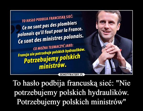 """To hasło podbija francuską sieć: """"Nie potrzebujemy polskich hydraulików. Potrzebujemy polskich ministrów"""" –"""