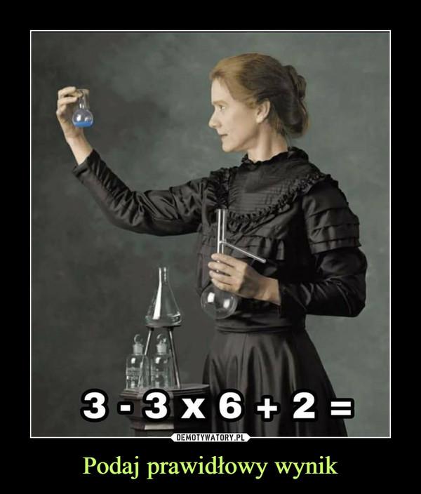 Podaj prawidłowy wynik –  3-3x6+2=