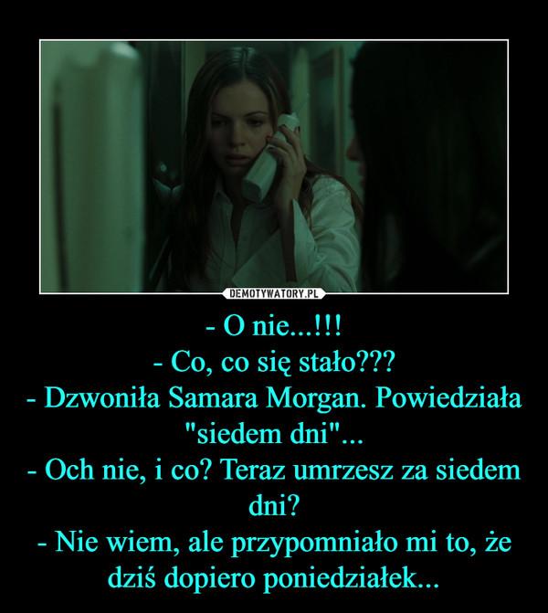 """- O nie...!!!- Co, co się stało???- Dzwoniła Samara Morgan. Powiedziała """"siedem dni""""...- Och nie, i co? Teraz umrzesz za siedem dni?- Nie wiem, ale przypomniało mi to, że dziś dopiero poniedziałek... –"""