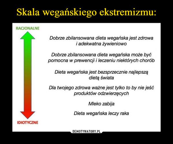 –  RACJONALNE IDIOTYCZNE Dobrze zbilansowana dieta wegańska jest zdrowa i adekwatna żywieniowo Dobrze zbilansowana dieta wegańska może być pomocna w prewencji i leczeniu niektórych chorób Dieta wegańska jest bezsprzecznie najlepszą dietą świata